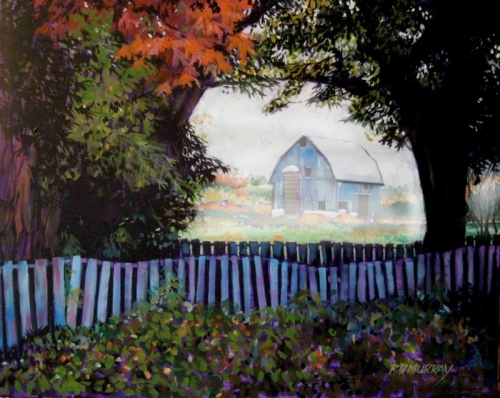 RD Murray One Foggy Morning Jerseyville 24x32