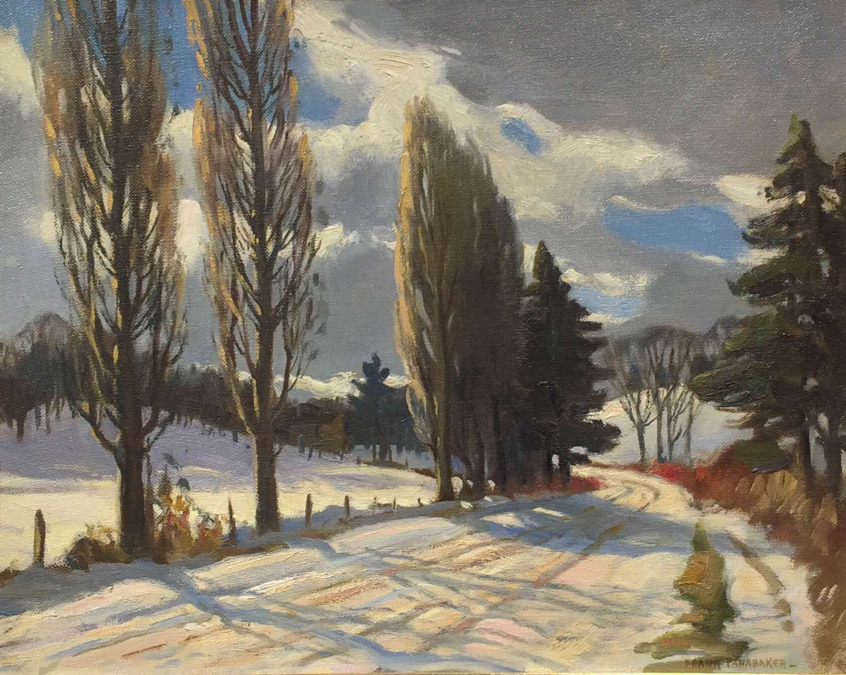 Frank Panabaker Ontario Snowy Road 16x20