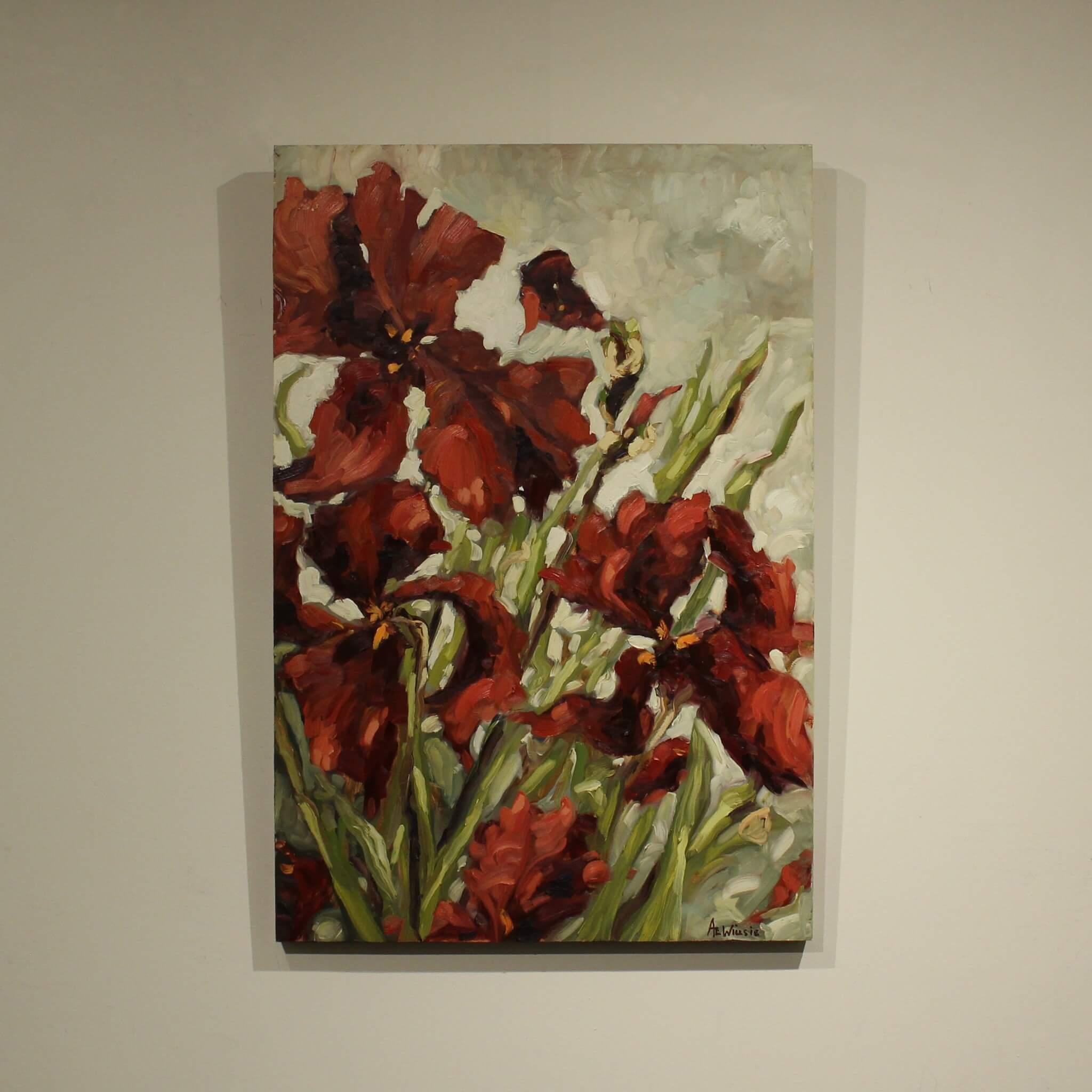 Ann Willsie Maroon Irises 36x24 D1