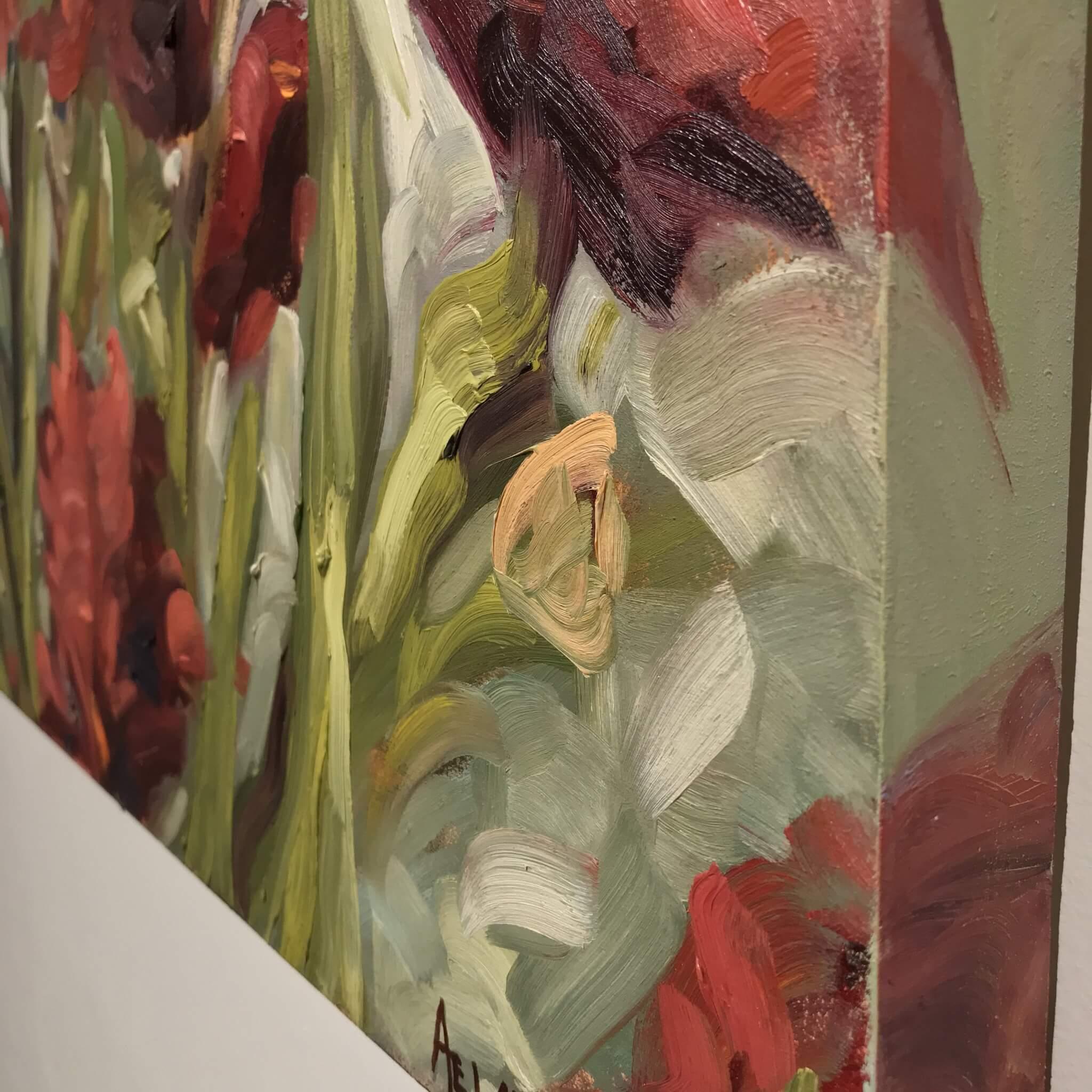 Ann Willsie Maroon Irises 36x24 D2