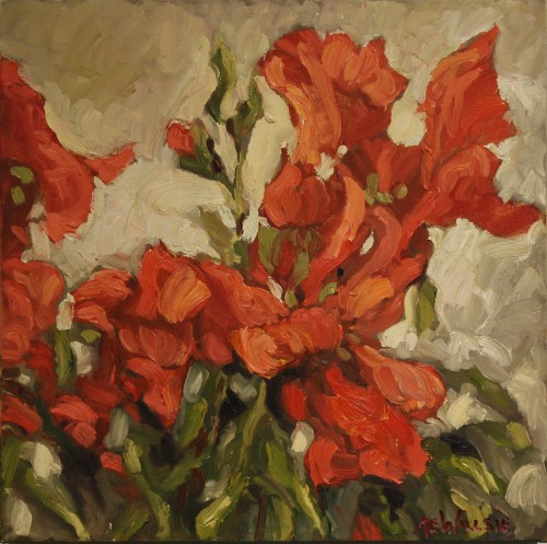 Ann Willsie Red Snapdragons 16x16