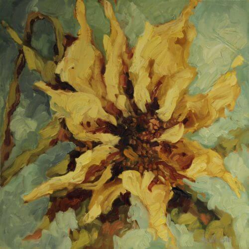 Ann Willsie Yellow on Blue Beek 16X16