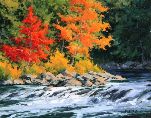 Robert E Wood Autumn Bend Oxtounge River Algonquin 11x14