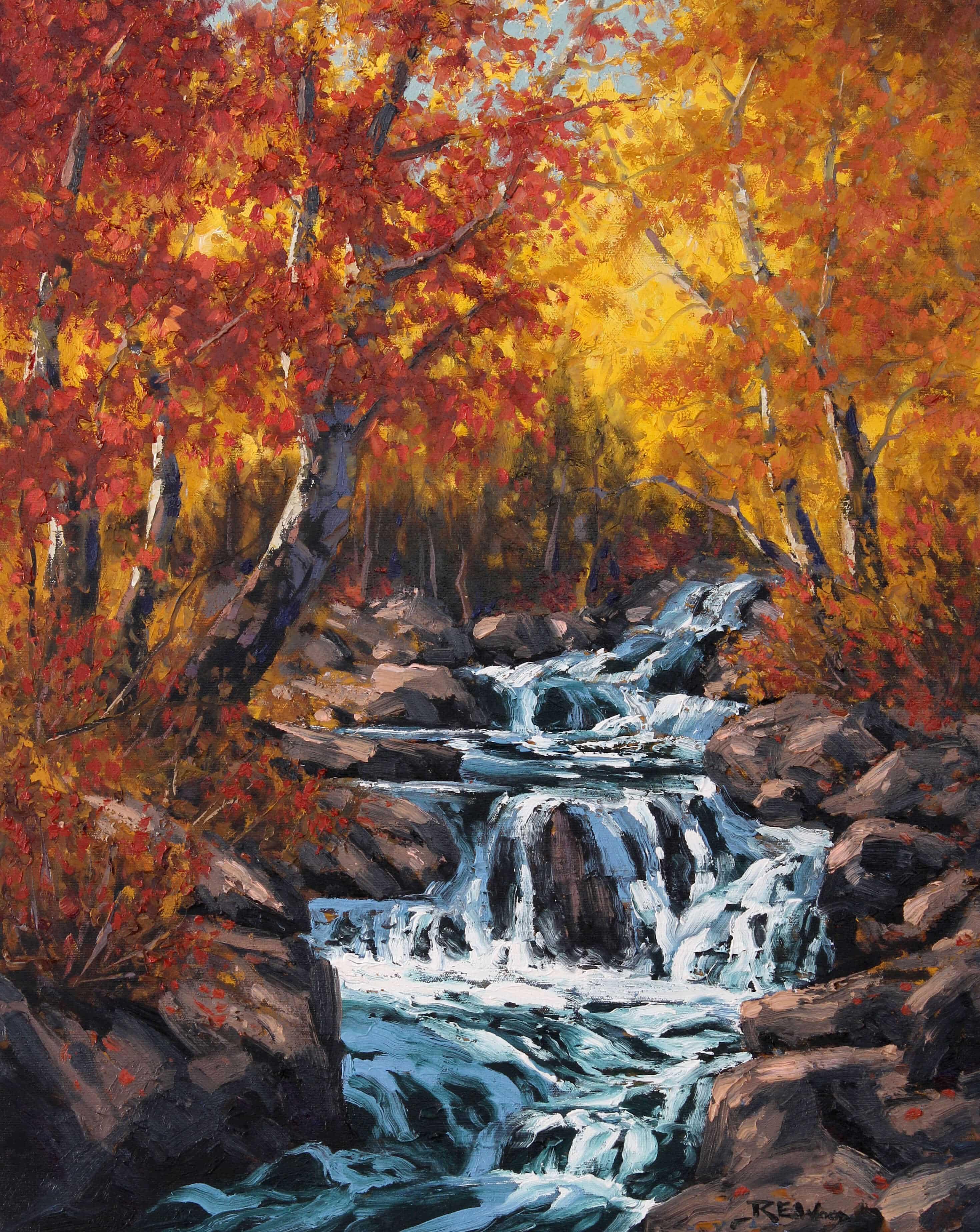 Robert E Wood Autumn Cascade 28x22