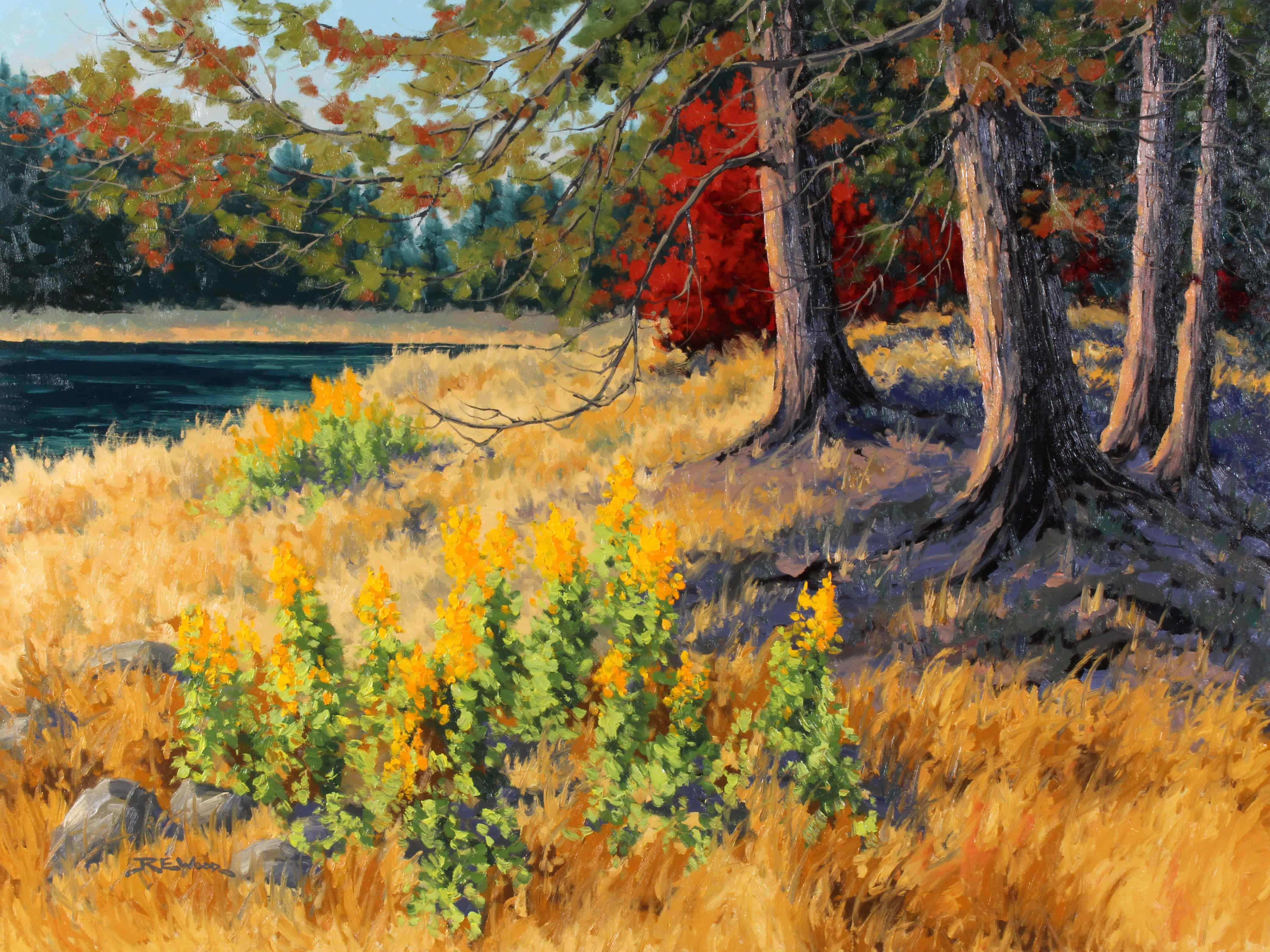 Robert E Wood Autumn Flowers Jake Lake 30x40