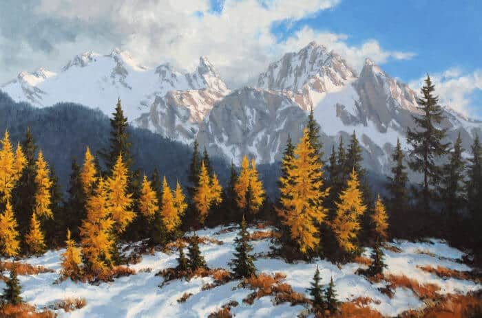 Robert E Wood Golden Larch Highwood Pass 40x60
