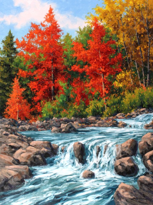 Robert E Wood Oxtongue River Rapids 48x36