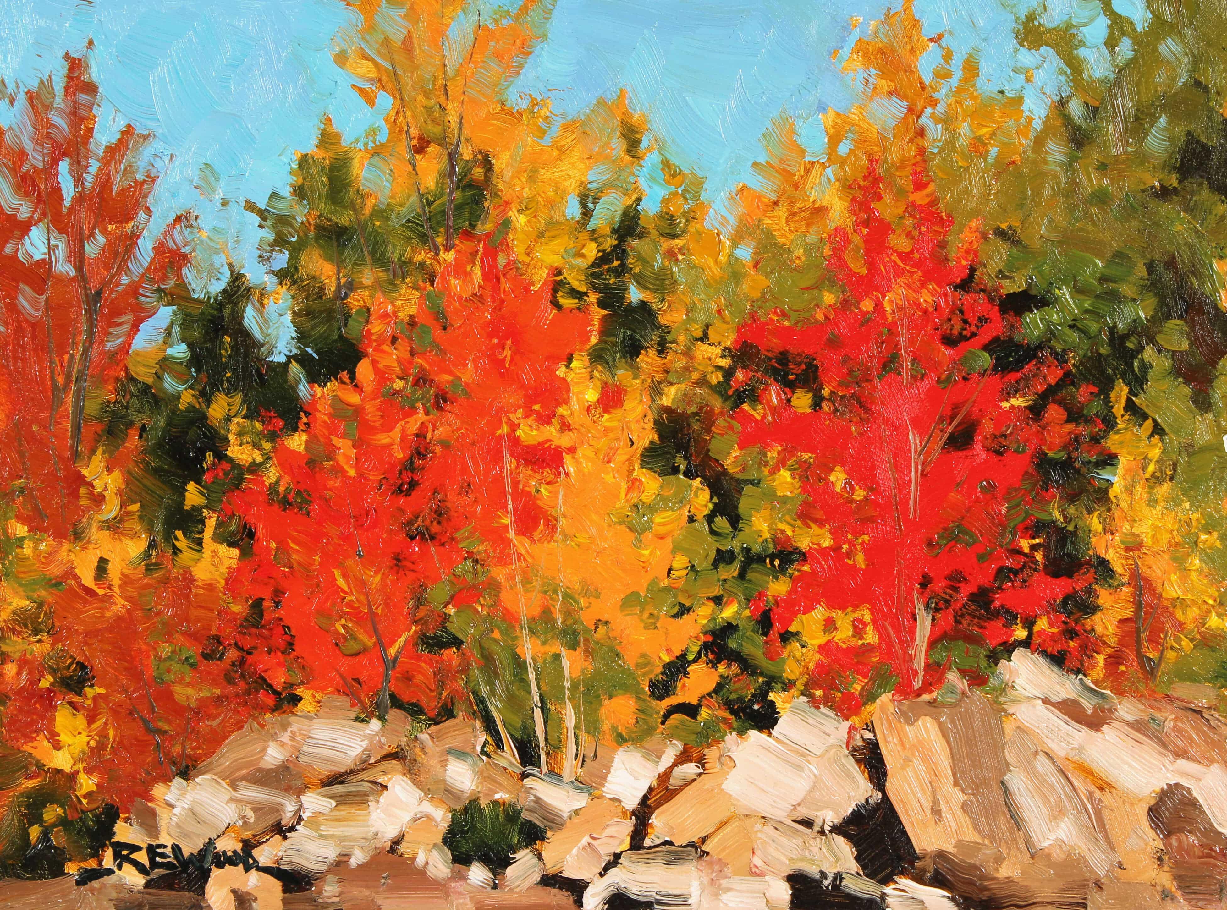 Robert E Wood Peak Colour Algonquin 9x12