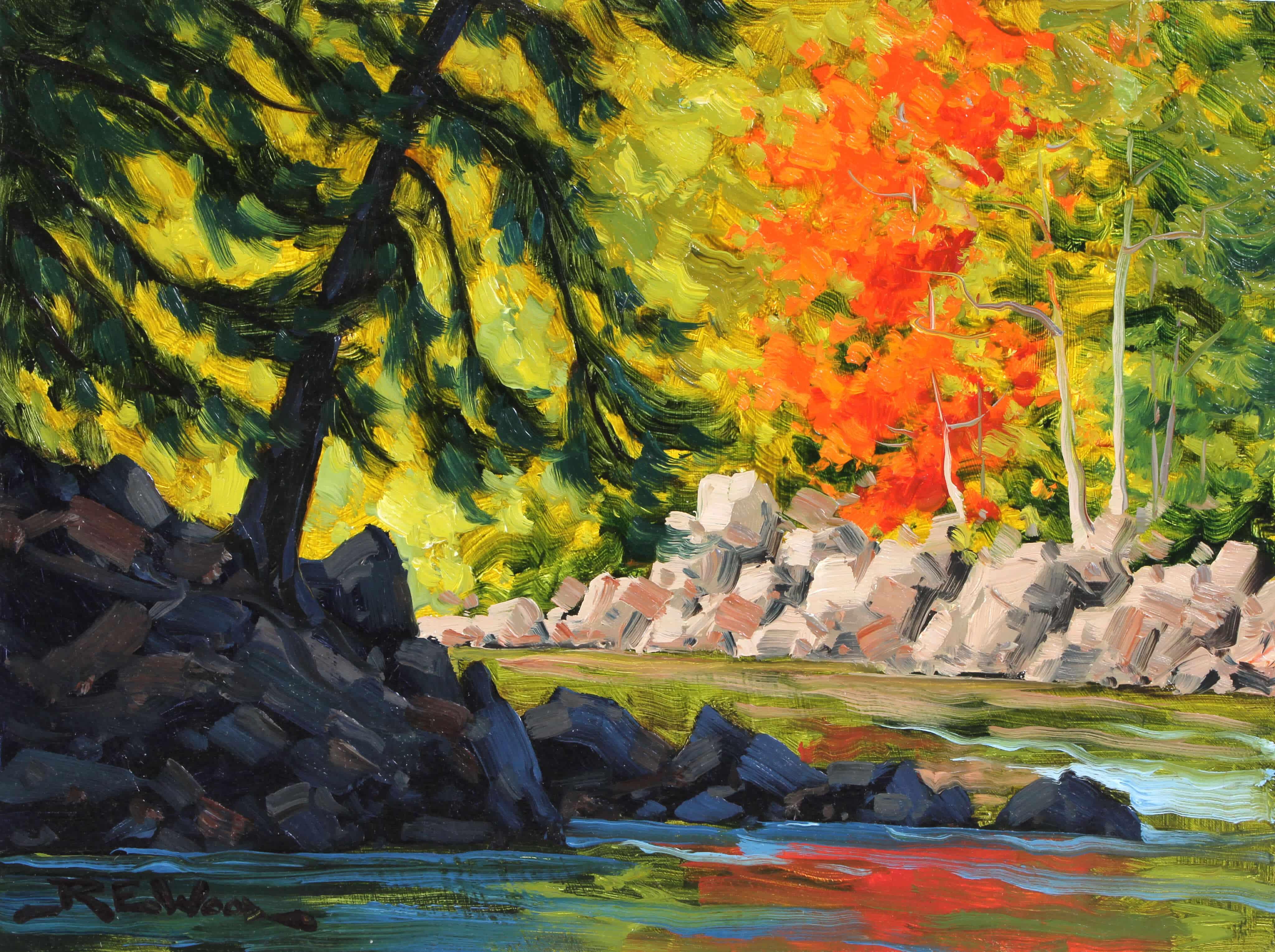 Robert E Wood Shadows and Light Oxtounge River 9x12