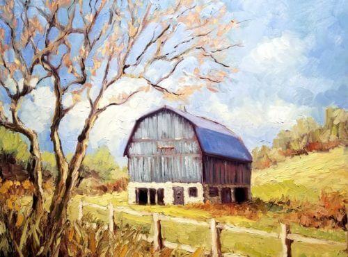 Ann Willsie Blue Barn in Spring 18x24