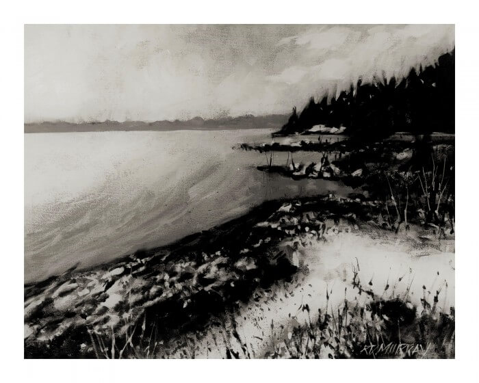 RD Murray Lake Huron Shore Line BW 16x20