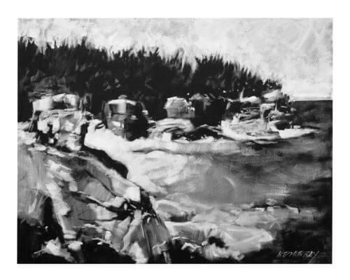 RD Murray Rocky Cliffs Shore Line BW 16x20