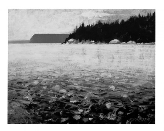 RD Murray Shallow Rocky Shore Line BW 16x20
